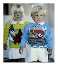 DK - Beatrix Rabbit and Noahs Ark Sweaters (Knitting & Crochet)- Child Size 7 (Chest - PDF Knitting Pattern - Baby Knitting Patterns, Free Knitting, Crochet For Kids, Knit Crochet, Original Copy, Fair Isle Pattern, Vintage Knitting, Vintage Patterns, Ark