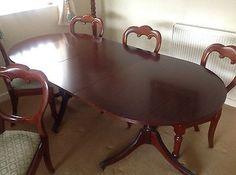 Dining Table Beautiful Vintage mahogany twin pillar table .  | eBay