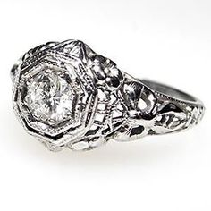 ANTIQUE FILIGREE DIAMOND SOLITAIRE ENGAGEMENT RING SOLID 18K WHITE GOLD