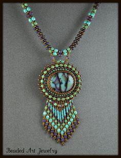Bead Embroidered Beaded Beadwork Summer Skies by beadedartjewelry, #beadwork