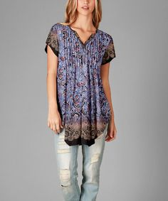 Look what I found on #zulily! Lavender & Brown Floral Notch Neck Tunic #zulilyfinds
