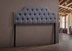 Amazon.com - Wholesale Interiors Baxton Studio Morris Modern and Contemporary Fabric Upholstered Button-Tufted Scalloped Headboard, Queen, Grey -