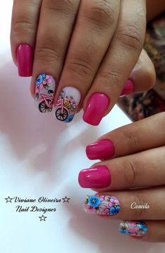 45 Melhores decorações do grupo de Unhas Decoradas Flower Nail Designs, Nail Art Designs, Short Nails Art, Girls Nails, Bling Nails, Flower Nails, Nail Arts, Pedicure, Acrylic Nails