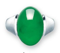 A JADEITE RING Simply set with an oval jadeite cabochon of rich emerald green colour and very good translucency, mounted in platinum, cabochon approximately 19.3 x 12.8 x 6.8 mm, ring size 9½. Price realized: 437,500 HKD (USD 56,625)