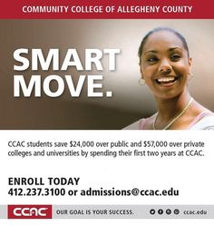Fun fact: You could save up to $24000 over public or $57000 over private colleges and universities by spending your first two years at #CCAC. Enroll today! #SmartMove
