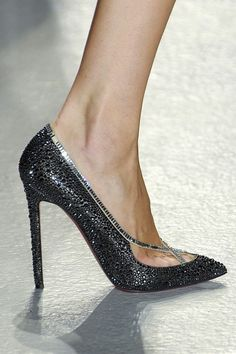 Christian Louboutin Dark Grey Glittering Pumps Spring 2012 #CL #Louboutins #Shoes