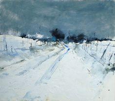 Hannah Woodman, 'Snow Study, Cornish Farm', pencil, oil and gesso on paper, 39 x 44cm