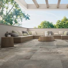 Update your outdoor spaces with the latest designs in non-slip outdoor tiles from WOMAG. Outdoor Pavers, Patio Slabs, Patio Tiles, Outdoor Flooring, Outdoor Porcelain Tile, Porcelain Tiles, Garden Tiles, Backyard Patio Designs, Outdoor Furniture Sets