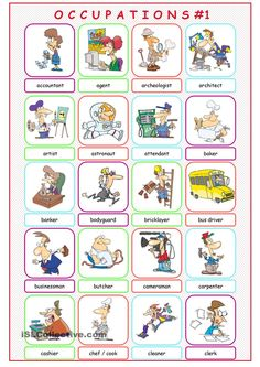 Occupations Picture Dictionary worksheet - Free ESL printable worksheets made by teachers English Grammar Worksheets, Grammar Lessons, English Vocabulary, Kids English, Learn English, English Class, English Activities, Language Activities, Verbs For Kids