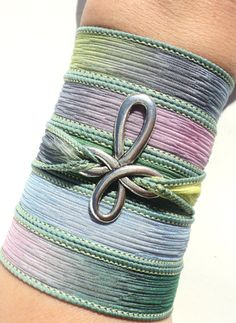 Cross Silk Wrap Bracelet Yoga Jewelry by BohemianEarthDesigns, $26.95