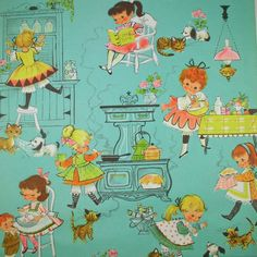 Girls COOK - Vintage Gift Wrap - Kittens & Puppies Too This item sold on April Here are some more items from HolidayKitschklatsch. Vintage Illustration Art, Illustrations, Graphic Illustration, Vintage Wrapping Paper, Vintage Paper Dolls, Wrapping Papers, Vintage Greeting Cards, Vintage Ephemera, Tissu Michael Miller