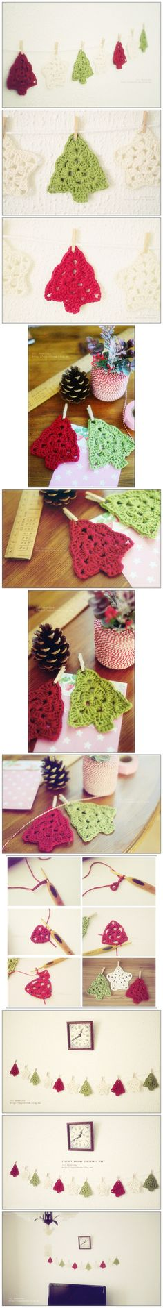 How to make crochet Christmas tree banner decoration | Welcome Craft
