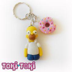 The Simpsons Homer Marge Donut Keychain Charms by MadeByTokiToki