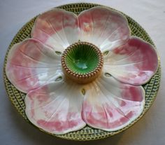 VERY RARE French Majolica plate oysters signed Choisy le Roi HB: Pink Flower