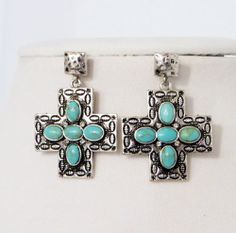 COWGIRL Bling Silver SPANISH CROSS TURQUOISE NATIVE EARRINGS AMERICAN  our prices are WAY BELOW RETAIL! all JEWELRY SHIPS FREE! www.baharanchwesternwear.com baha ranch western wear ebay seller id soloedition
