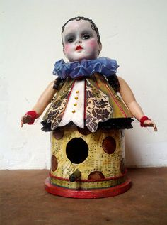 wooden doll bird house Dolls Dolls, Art Dolls, Wooden Dolls, Birdhouses, Doll Houses, Bird Feeders, Barns, Weird, Objects