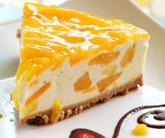 Mango Cheesecake is a beautiful, delicate dish that is perfect for parties and special occations. The Mango Cheese Cake Recipe is makde by blending the delectable fresh mangoes with crumbly cheese. The pastry for the cheese cake has a prefect crust and is Food Cakes, Cupcake Cakes, Cupcakes, Sweet Recipes, Cake Recipes, Mango Dessert Recipes, Meal Recipes, Baking Recipes, Dessert Original