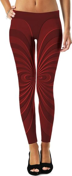 Trippy curves, spirals pattern, red on scarlet, geometric themed leggings design   - for more art and design be sure to visit www.casemiroarts.com, item printed by RageOn at www.rageon.com/a/users/casemiroarts - also available at www.casemiroarts.com - This product is hand made and made on-demand. Expect delivery (aproximate time frames) to US in 11-23 business days (international 14-33 business days). #leggings #clothing #style #fashion