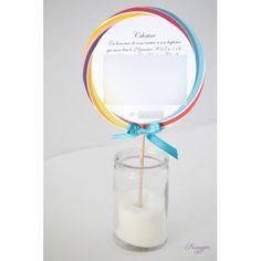 Faire-part baptême sucette lollipop