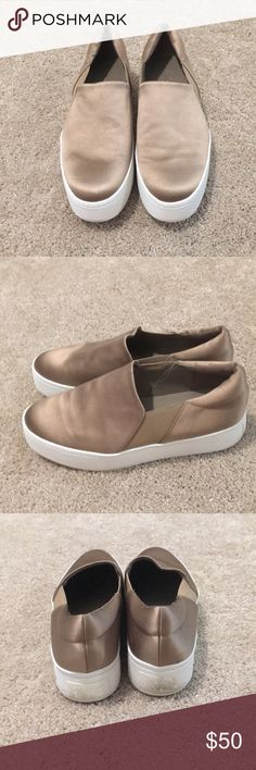 """Vince satin """"Warren"""" platform slip on """"fawn"""". Sz 8 Vince satin fawn (light gold) Warren slip on sneaker. Sz 8 (can also fit 8.5) Super lightweight, GREAT condition. Sole/ heels can simply be wiped clean. Worn 2x. Purchased Vince boutique Waikiki, HI. Non smoking home. NO TRADES. PRICE FIRM. Vince Shoes"""