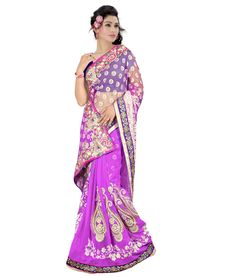 Saree Colour : Purple Blouse Colour : Blue Collection : KSS102 Saree Fabric : Pallu Weightless + Brasso Blouse Fabric : Dhupian Saree Length : 5 Meter Blouse Length : 0.90 Cm Ptticoat : Not Available Stitching: Un_Stitched Work : Embroidered Style : New Arrival Saree