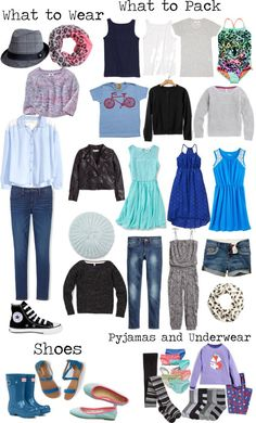 A versatile packing list for a girl ages 8-13. Lots of mix and match outfit choices and layering for changes of weather. To Pack light and travel light with a carry-on. #packinglight #travellight livelovesara.com
