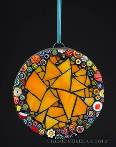 Stained Glass Millefiori Abstract Mosaic Wall hanging by CherieBosela. Dead easy but sooo attractive