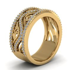 White Diamond Wedding In 18K Yellow Gold | Filigree Framed Band | Fascinating Diamonds