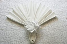 White Rose Napkin Ring  Satin Napkin Ring  Flower by IDoDoodads, $9.95