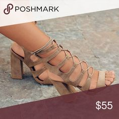 Taupe lace up chunk heel Loving these trending lace up chunk heels! So adorable & great for summer 😍😍  .. Color taupe... . No zipper, slip your foot in. Brand is called So Me.   •TRUE TO SIZE •NO TRADES  •HEEL HEIGHT: 4.5 inches (approx)   •PRICE IS FIRM• Shoes Heels