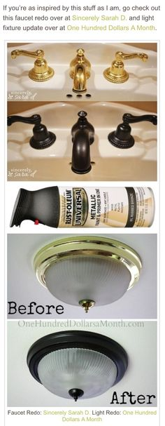 Use Rust-Oleum to paint outdated brass faucets, hardware and fixtures! -- 27 Easy Remodeling Projects That Will Completely Transform Your Home diy home improvement Easy DIY Remodeling Ideas On A Budget (before and after photos) Diy Home Decor Rustic, Easy Home Decor, Cheap Home Decor, Diy Home Decor On A Budget, Condo Decorating On A Budget, Living Room Ideas On A Budget, Diy Projects On A Budget, Mobile Home Decorating, Do It Yourself Furniture