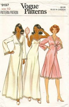 Vogue 9197 Misses Lingerie Pattern Lacy Nightgown and Bell Sleeve Robe Pattern Vintage Sewing Pattern Size 10 Bust 32 Vogue 9197 Misses Lingerie Pattern Lacy Satin Negligee and Peignoir womens vintage sewing. Lingerie Patterns, Sewing Lingerie, Vintage Lingerie, Clothing Patterns, Lingerie Set, Vestidos Vintage, Vintage Dresses, Vintage Outfits, Vintage Fashion