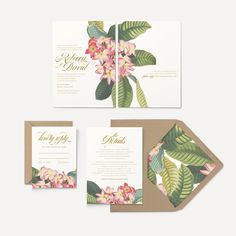 Tropical Plumeria Flowers Martinique Leaf Wedding Invitation If you are interested in placing a custom invitation order, Id love to hear from you! Please visit my website for pricing and more information Beach Wedding Invitations, Wedding Invitation Design, Wedding Stationery, Invitation Envelopes, Custom Invitations, Invitation Templates, 5x7 Envelopes, Invitations Online, Invitation Suite