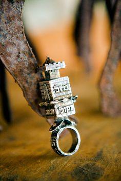 "Antique italian-jewish wedding ring  The inscription reads ""mazal  tov, be kol hatan ve kol kala"""