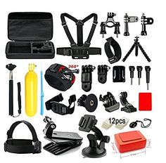 Soft Digits Accessories Kit for GoPro Hero 5 4 3+ 3 2 1 Session Accessory Bundle Set for Action Camera SJ4000 SJ5000 SJ6000 Xiaomi Yi-Flotation Handle+Head Strap+Chest Strap  【Carrying Case】Large Size&Shockproof. It's very convenient to keep all accessories and your camera together. A necessity for traveling and outdoor sports.  【Floating Hand Grip】Mainly Applied to water sports. Brightly yellow color makes camera easily to be found and avoids losing, dropping. NOTE: The set must be us...