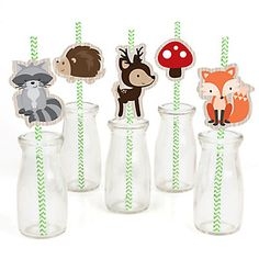 Woodland Creatures - Party Straw Decor with Chevron Paper Straws | BigDotOfHappiness.com