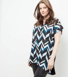 Curves Blue Geo Print Woven T-Shirt   New Look