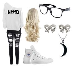 """""""Nerd"""" by emily-carlson-nanibush ❤ liked on Polyvore featuring Glamorous, Retrò, Converse, M&Co and Carolina Glamour Collection"""