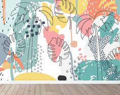Tropical Splash Wallpaper Mural by munks and me, the perfect gift for Explore more unique gifts in our curated marketplace. Old Wallpaper, Wallpaper Paste, Wallpaper Murals, Mural Wall Art, Painting Murals On Walls, Painted Wall Murals, Wall Painting Decor, Blue Walls, Wall Decor