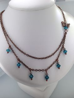 Copper & Crystal double strand asymmetrical chain necklace.