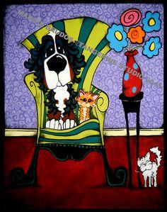 MAGGIE BRUDOS bernese mountain dog CAT pop by tangerinestudio, $105.00