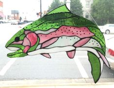 Rainbow Trout Stained Glass Sun