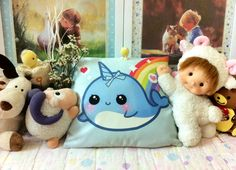 Kawaii Narwhal Pillow by tho-be.deviantart.com