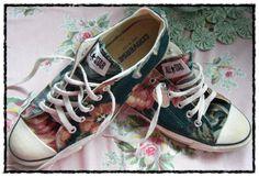 my vintage rose barkcloth Converse tennis shoes ~mbr~