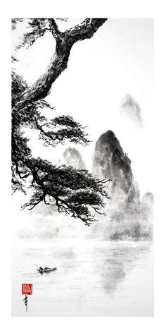 peinture zen ou sumi-e Jean-Marc Moschetti art zen Chinese Landscape Painting, Landscape Sketch, Chinese Painting, Chinese Art, Star Wars Wallpaper Iphone, Zen Wallpaper, Sumi E Painting, Japan Painting, Watercolor Paintings