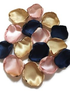 Navy Blue blush and gold flower petals - rose petals - table decor - flower girl petals - baby shower decor - bridal shower decor Gold Wedding Colors, Gold Wedding Theme, Blush Wedding Flowers, Rose Wedding, Gold Flowers, Flower Petals, Pale Pink Weddings, Dream Wedding, Blush And Gold