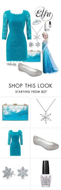 """""""Elsa from """"Frozen"""""""" by le-piano-argent ❤ liked on Polyvore featuring Skinnydip, Diane Von Furstenberg, Disney, Melissa, Bling Jewelry, OPI, women's clothing, women's fashion, women and female"""