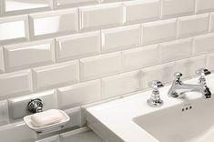 Metro White Bathroom Tiles, square modern basin, traditional taps