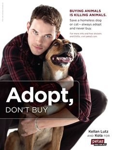 PERSUASION AND PROPAGANDA:   1. Here, in this ad, we see Celebrity Testimonial being used. This leads the viewer to believe that Kellan Lutz endorses this idea and truly supports the cause.   2. The predominant rhetoric being used in this ad is Pathos. With Kellan's eyes staring directly into the viewer's eyes, the viewer feels upset by the issue presented. His sad eyes and the cute dog really tug on the viewer's heart.