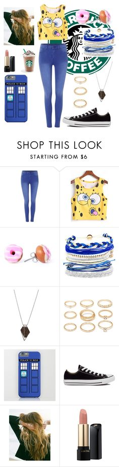 """Starbucks"" by badsebslands ❤ liked on Polyvore featuring Dr. Denim, Domo Beads, Monique Péan, Forever 21, Converse, Lulu DK and Lancôme"
